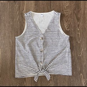 Stripped Button up tank top